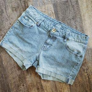 a.n.a  pin stripped jean shorts